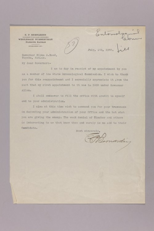 Governor Clyde M. Reed correspondence, Entomological Commission - Page