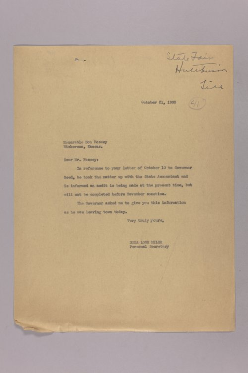 Governor Clyde M. Reed correspondence, State Fair - Page