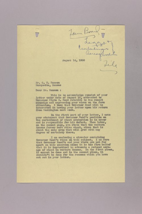 Governor Clyde M. Reed correspondence, Federal Farm Loans - Page