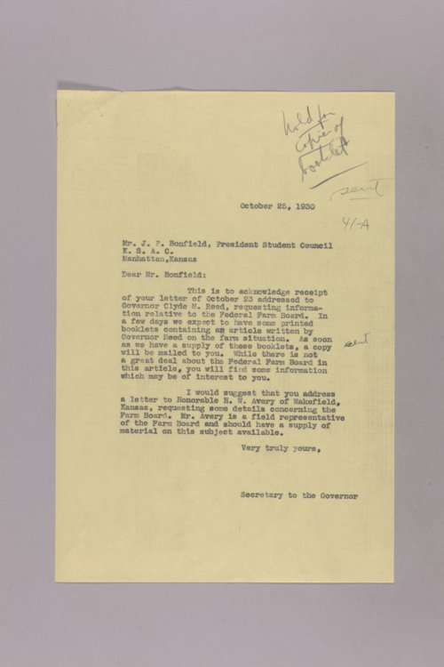 Governor Clyde M. Reed correspondence, Farm Union - Page