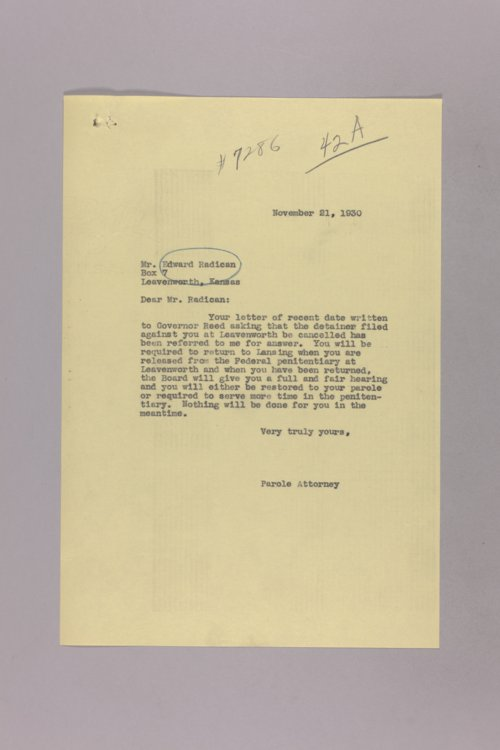Governor Clyde M. Reed correspondence, Federal Prison - Page