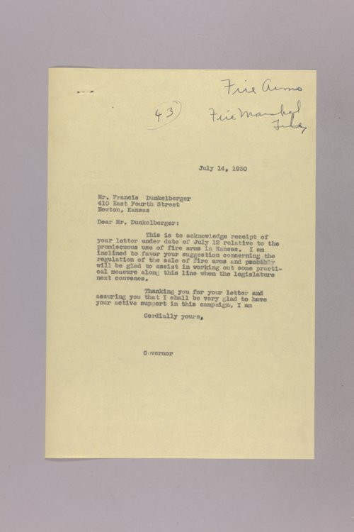 Governor Clyde M. Reed correspondence, State Fire Marshall - Page