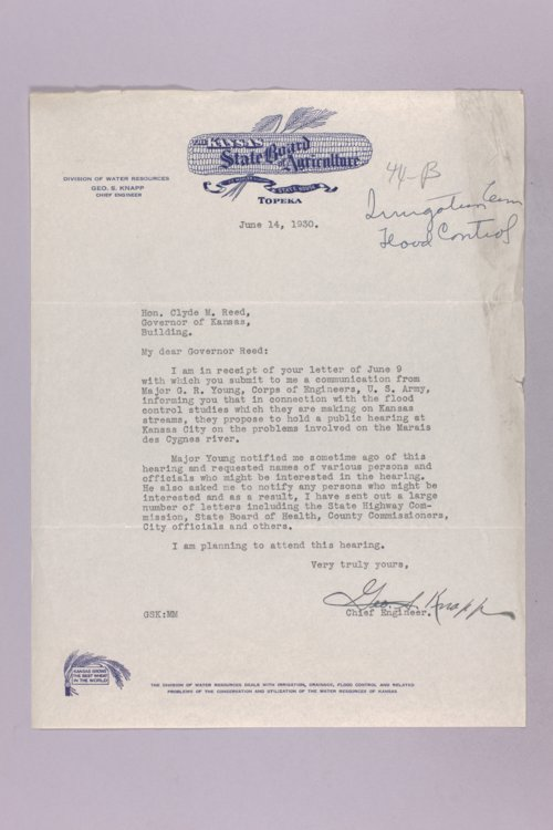 Governor Clyde M. Reed correspondence, flood control - Page