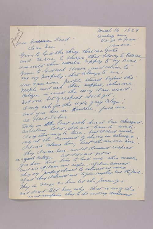 Governor Clyde M. Reed correspondence, constituent correspondence - Page