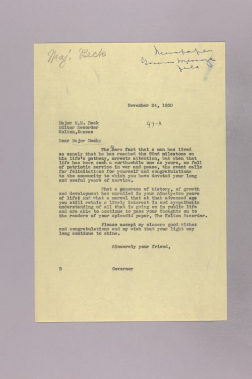 Governor Clyde M. Reed correspondence, Governor speeches - Page