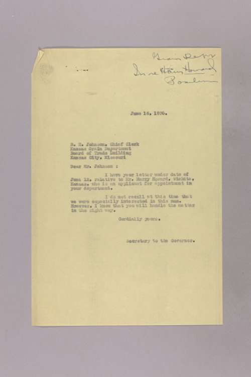 Governor Clyde M. Reed correspondence, grain inspection - Page