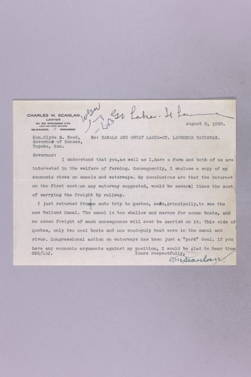 Governor Clyde M. Reed correspondence, St. Lawrence waterway - Page