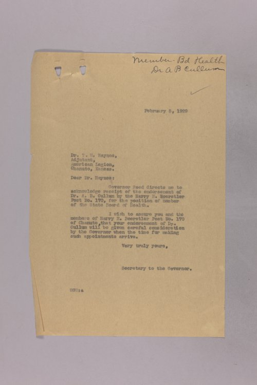 Governor Clyde M. Reed correspondence, Board of Health - Page