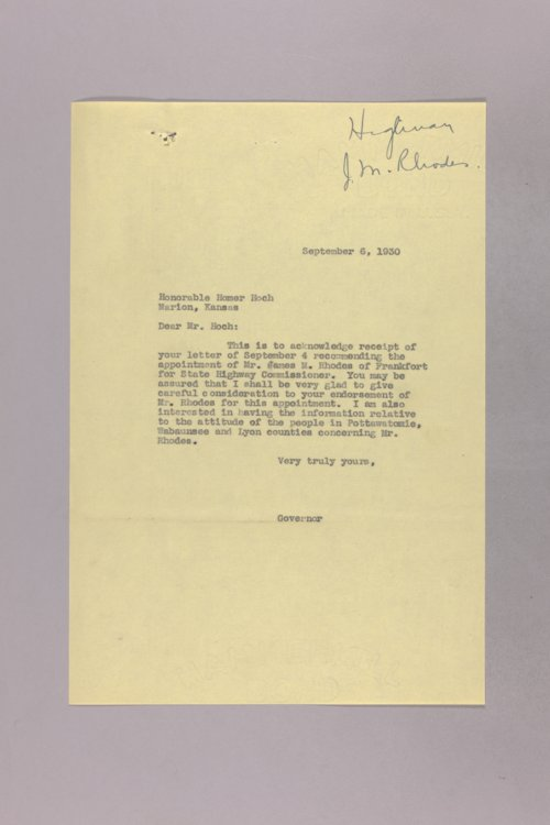Governor Clyde M. Reed correspondence, commission appointments - Page