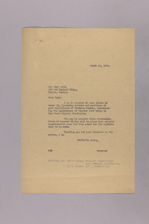 Governor Clyde M. Reed correspondence, Highway Department - Page