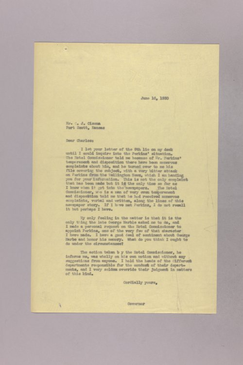Governor Clyde M. Reed correspondence, Hotel Commission - Page
