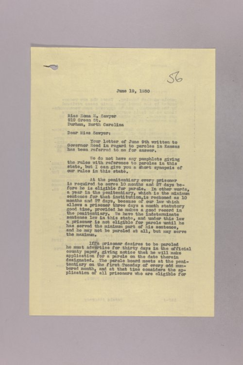 Governor Clyde M. Reed correspondence, paroles and institutions - Page