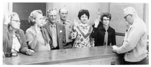 Officials being sworn in, Logan County, Kansas - Page
