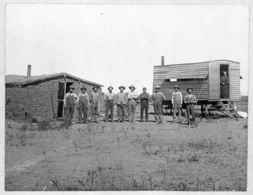 Bedrang threshing crew, Logan County, Kansas - Page