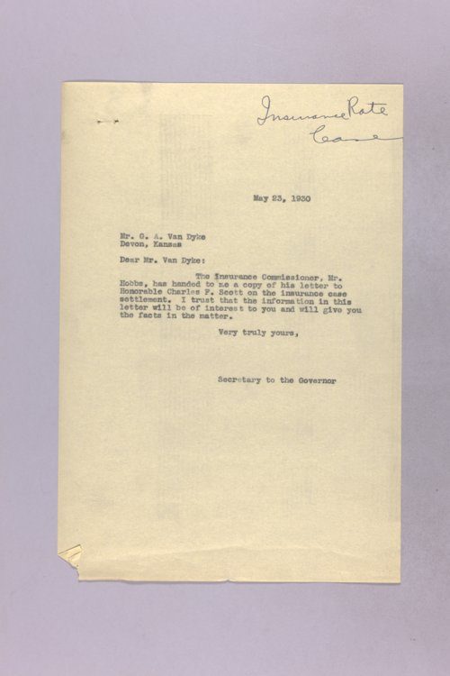 Governor Clyde M. Reed correspondence, insurance rates