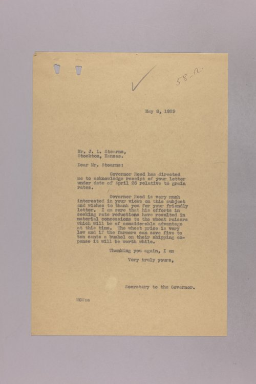 Governor Clyde M. Reed correspondence, Interstate Commerce Commission - Page