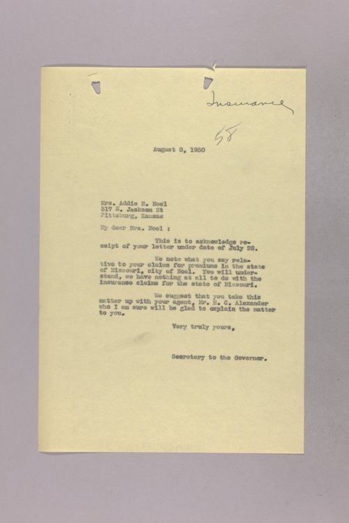 Governor Clyde M. Reed correspondence, hail insurance deduction - Page