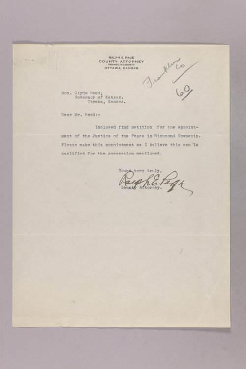 Governor Clyde M. Reed correspondence, Justice of the Peace