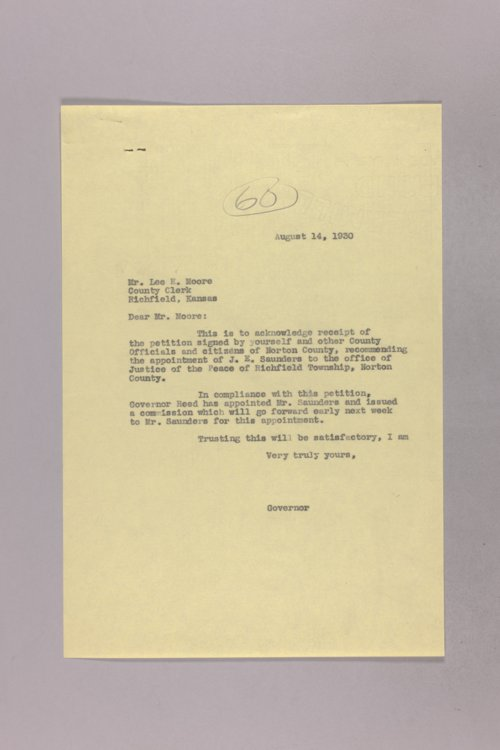 Governor Clyde M. Reed correspondence, Justice of the Peace - Page