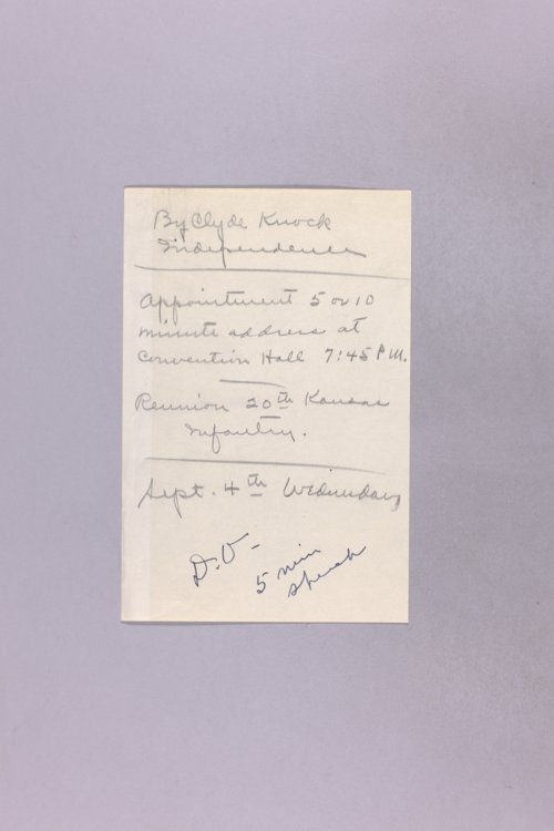 Governor Clyde M. Reed correspondence, invitations and speeches - Page