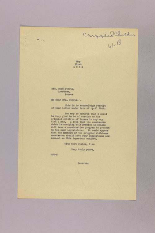 Governor Clyde M. Reed correspondence, Kansas Society for Crippled Children - Page