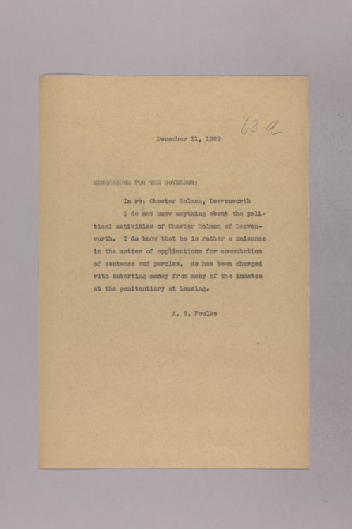 Governor Clyde M. Reed correspondence, legal advice - Page