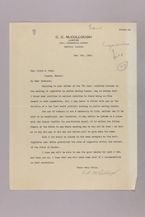Governor Clyde M. Reed correspondence, state law - Page