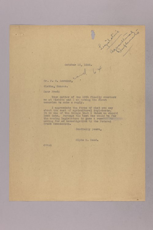 Governor Clyde M. Reed correspondence, Agricultural legislation - Page
