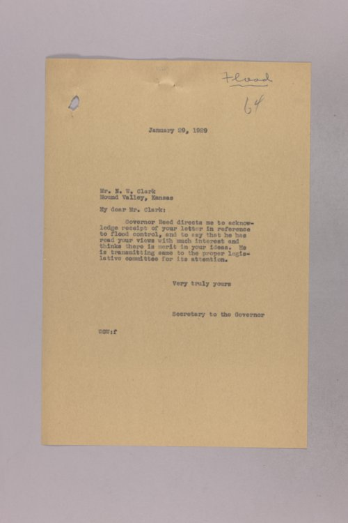 Governor Clyde M. Reed correspondence, agricultural drainage legislation - Page