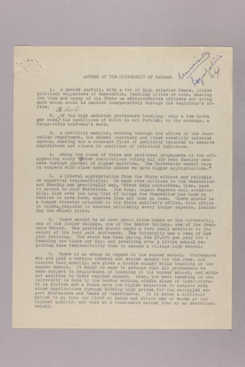 Governor Clyde M. Reed correspondence, Educational Legislation - Page