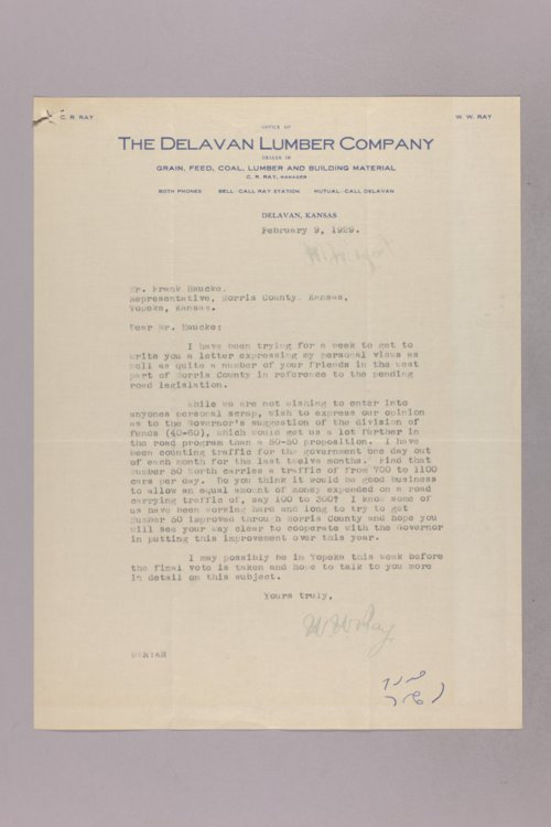 Governor Clyde M. Reed correspondence, road legislation - Page