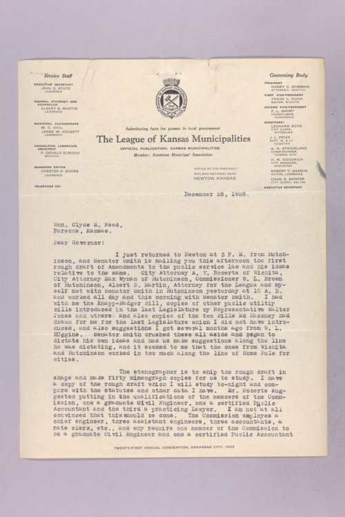 Governor Clyde M. Reed correspondence, League of Kansas Municipalities - Page