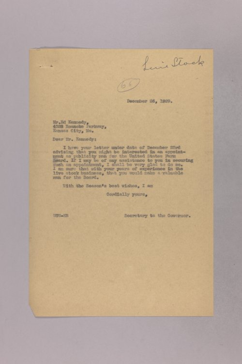 Governor Clyde M. Reed correspondence, Livestock Department - Page