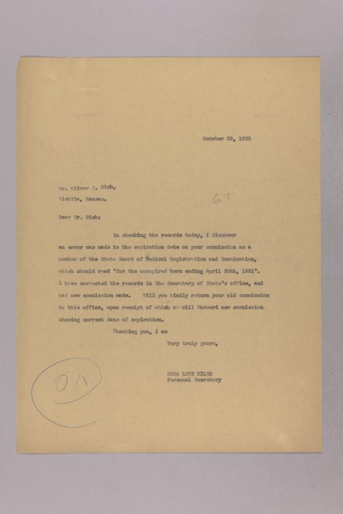 Governor Clyde M. Reed correspondence, medical registration - Page