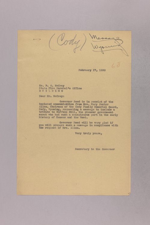Governor Clyde M. Reed correspondence, Memorial Association - Page