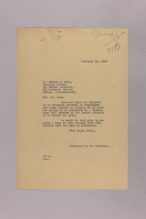 Governor Clyde M. Reed correspondence, newspapers - Page
