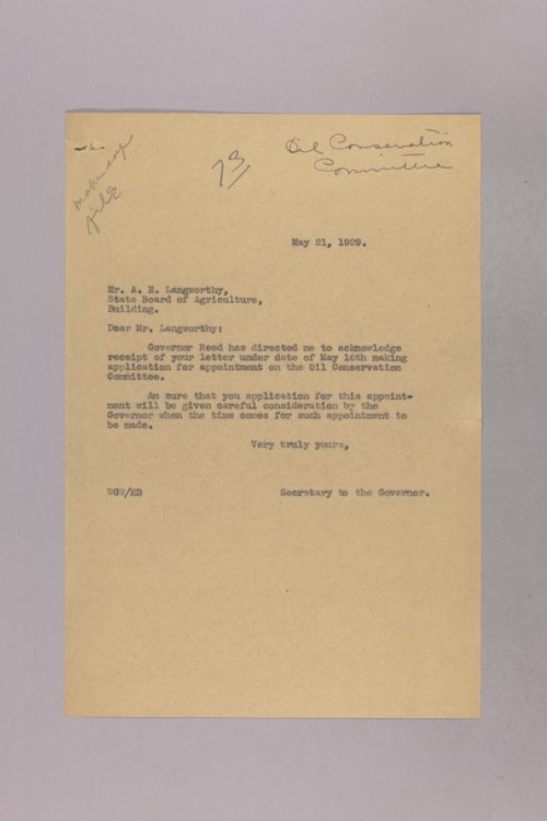 Governor Clyde M. Reed correspondence, oil and gas - Page