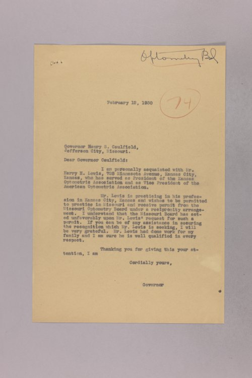 Governor Clyde M. Reed correspondence, Optometry board - Page