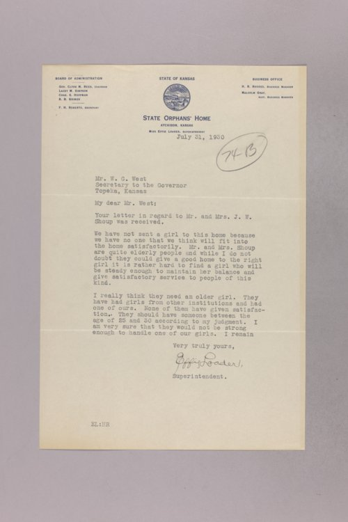Governor Clyde M. Reed correspondence, orphans - Page
