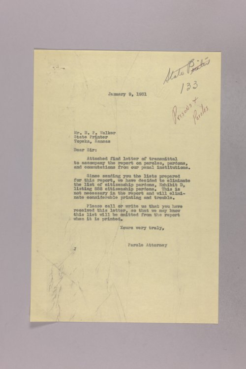 Governor Clyde M. Reed correspondence, Kansas penitentiaries - Page