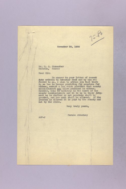 Governor Clyde M. Reed correspondence, pensions - Page
