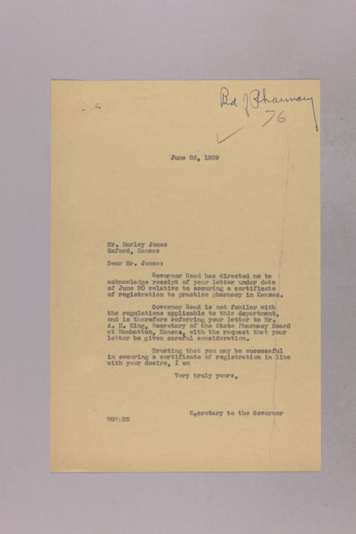 Governor Clyde M. Reed correspondence, Pharmacy Board
