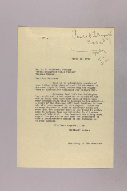 Governor Clyde M. Reed correspondence, United States Postal Service - Page