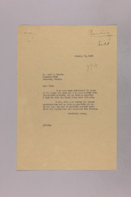 Governor Clyde M. Reed correspondence, state printer - Page