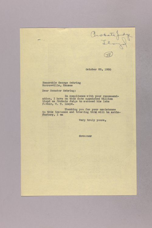 Governor Clyde M. Reed correspondence, Probate Judge - Page