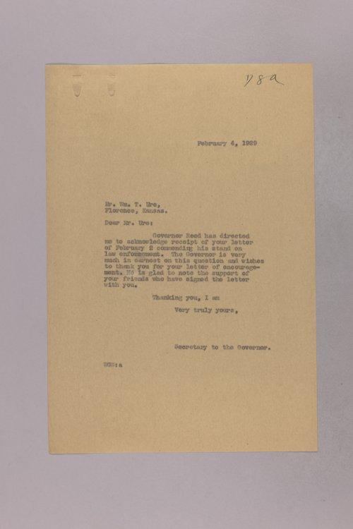 Governor Clyde M. Reed correspondence, prohibition - Page