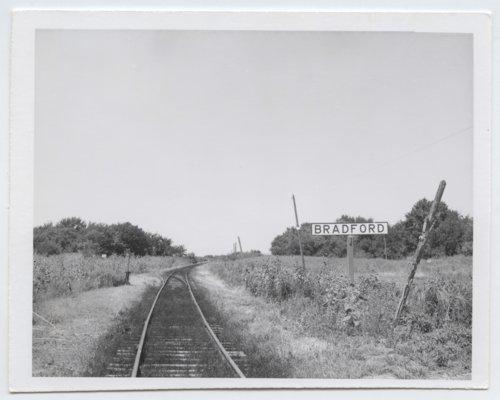 Atchison, Topeka & Santa Fe Railway Company's sign board, Bradford, Kansas - Page
