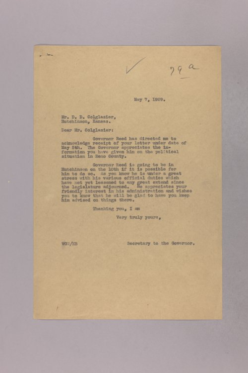 Governor Clyde M. Reed correspondence, political and social science - Page