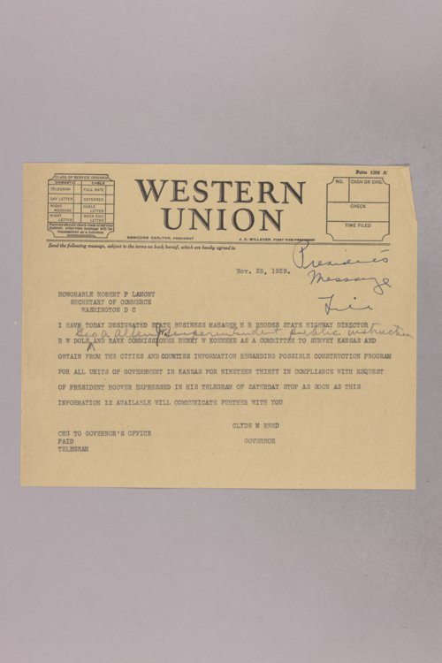 Governor Clyde M. Reed correspondence, Reed and President Herbert Hoover - Page