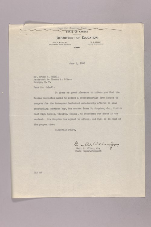 Governor Clyde M. Reed correspondence, public instruction - Page